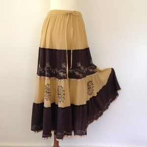 Vintage Embroidered Tiered Hippie Maxi Skirt S/M